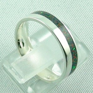 silverring with opal inlay black flame, opalring 3.80 gr. bandring, pic5
