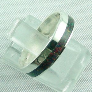 silverring with opal inlay black flame, opalring 3.80 gr. bandring, pic6