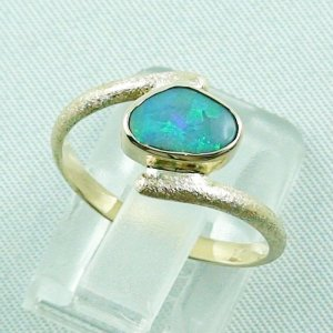 2.70 gr. opalring, 14k gold ring with opal, 0.86 ct semiblackopal, pic4