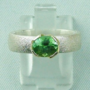 5.25 gr tourmalinering, silver ring with tourmaline 1.13 ct set in gold