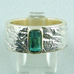 15.43 gr tourmalinering, gold ring or silver ring with tourmaline 1.25 ct