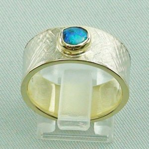 9.93 gr opalring, goldring, silverring with black opal 0.50 ct, pic4
