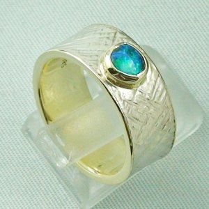 9.93 gr opalring, goldring, silverring with black opal 0.50 ct, pic5