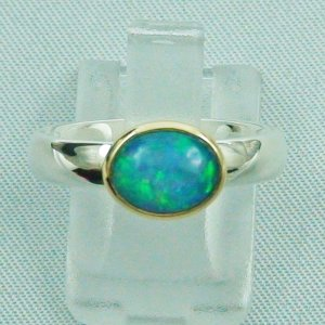 Opalring / Silberring 935 mit 1,24 ct Welo Opal in 18k Gold gefasst