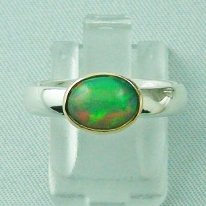 Opalring / Silberring 935 mit 1,28 ct Welo Opal in 18k Gold gefasst