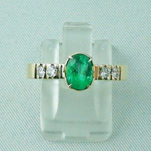 Emeraldring, goldring with emerald 585 / 14k yellow gold 4.94 gr
