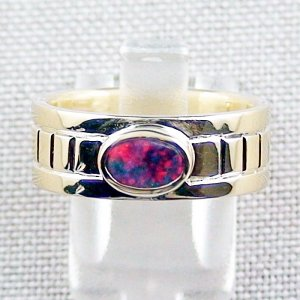10.10 gr 14k gold ring, opalring with 0.72 ct Top Black Opal, pic1
