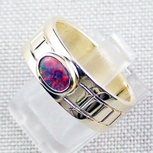 10.10 gr 14k gold ring, opalring with 0.72 ct Top Black Opal, pic2