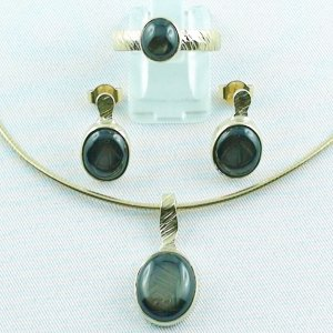 Star sapphire jewelry set, gold-pendant, -ring, -earrings