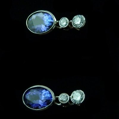 4.11 gr tanzanite earrings ear studs 18k white gold and diamonds, pic2