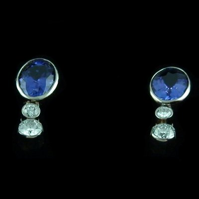 4.11 gr tanzanite earrings ear studs 18k white gold and diamonds, pic3