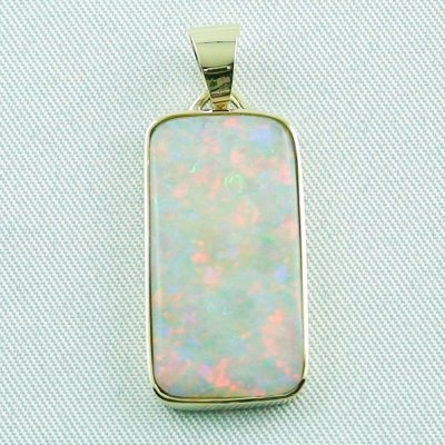 4.41 gr opalpendant, gold pendant 14k with white opal 7.20 ct, pic1