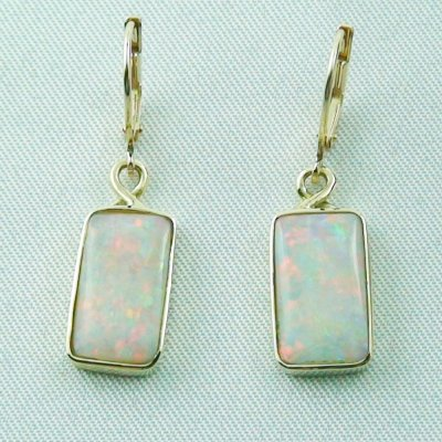 4.46 grams Opal earring 14k gold with 6,70 ct white opals, pic1