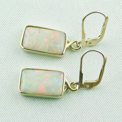 4.46 grams Opal earring 14k gold with 6,70 ct white opals, pic2
