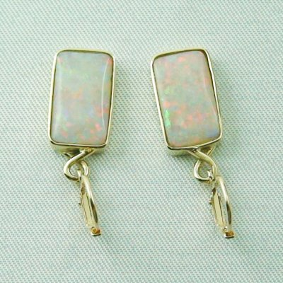 4.46 grams Opal earring 14k gold with 6,70 ct white opals, pic3