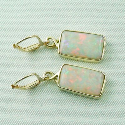 4.46 grams Opal earring 14k gold with 6,70 ct white opals, pic4