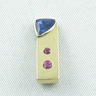 3.34 Gold pendant 585 / 14k with 0,80 ct sapphire and rubies, pic3