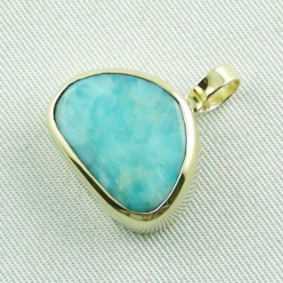 4.41 gr. gold pendant with 10.34 ct larimar gemstone, pic2