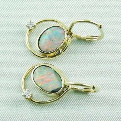 4,30 gr. opal earring, earrings 14k gold, boulder opals, diamond, pic2