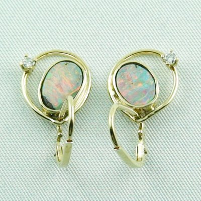 4,30 gr. opal earring, earrings 14k gold, boulder opals, diamond, pic3