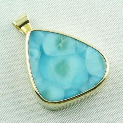 14.01 gr. gold pendant with 43,98 ct larimar gemstone, pic6