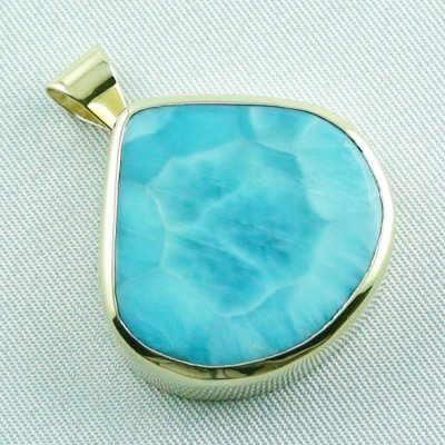 12.93 gr. gold pendant with 42.34 ct larimar gemstone, pic6