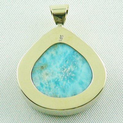 12.93 gr. gold pendant with 42.34 ct larimar gemstone, pic7