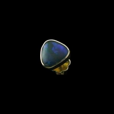 1.16 gr opal ear stud, earring 18k gold with 0.70 ct black opal, pic2