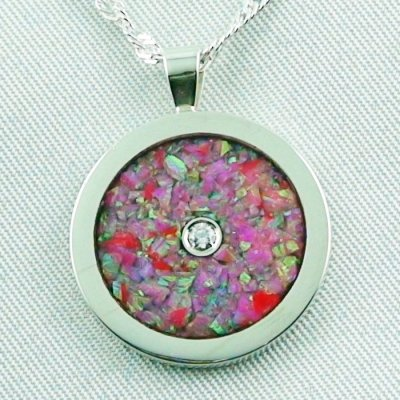 3.62 gr Opal Inlay Pendant hot pink and diamond, pic1