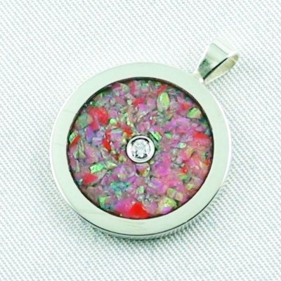 3.62 gr Opal Inlay Pendant hot pink and diamond, pic2