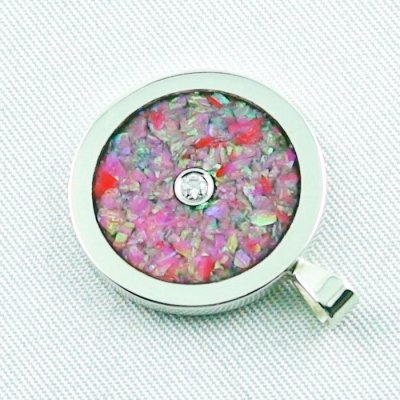 3.62 gr Opal Inlay Pendant hot pink and diamond, pic3