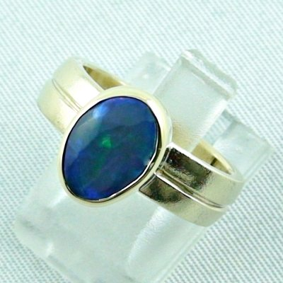 opalring, 14k goldring, ladies ring with blackcrystal opal, pic1