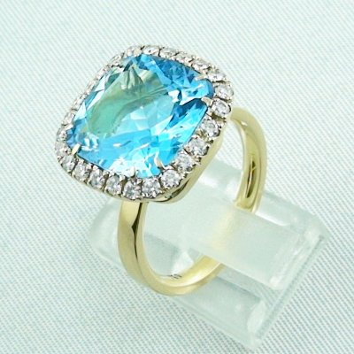 8,60 gr Goldring 18k, blue topaz ring with diamonds, ladies ring, pic2