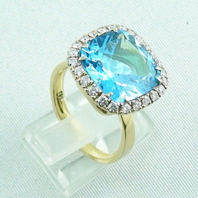 8,60 gr Goldring 18k, blue topaz ring with diamonds, ladies ring, pic4