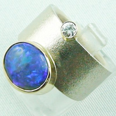 18,74 gr opalring 18k white gold ladies ring blackcrystalopal diamond, pic2