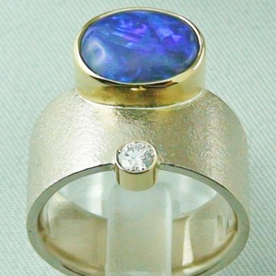 18,74 gr opalring 18k white gold ladies ring blackcrystalopal diamond, pic4