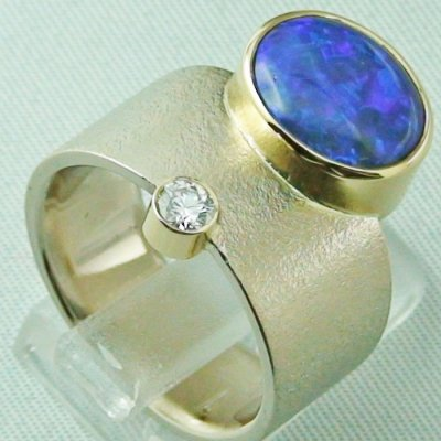 18,74 gr opalring 18k white gold ladies ring blackcrystalopal diamond, pic5
