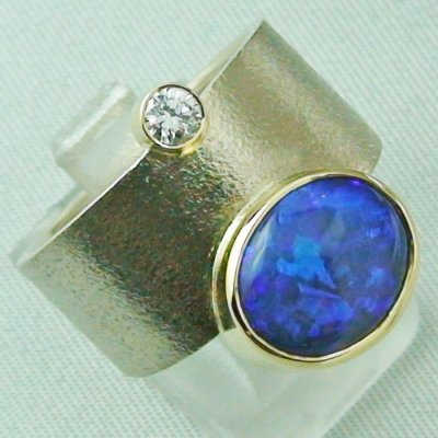 18,74 gr opalring 18k white gold ladies ring blackcrystalopal diamond, pic6