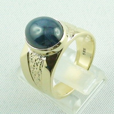 15.66 gr sapphirering, 14k goldring, man ring with star sapphire, pic3