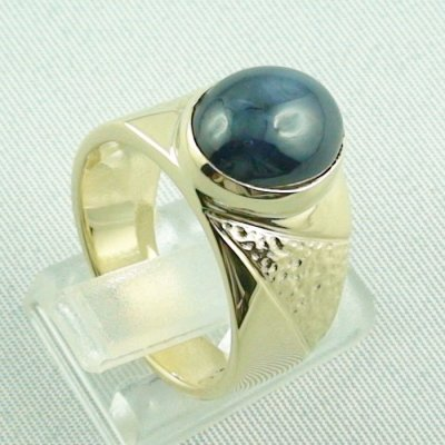 15.66 gr sapphirering, 14k goldring, man ring with star sapphire, pic5