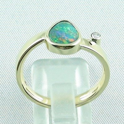7,27 gr opalring, 14k goldring, ladies ring, black crystal opal and diamond, pic4