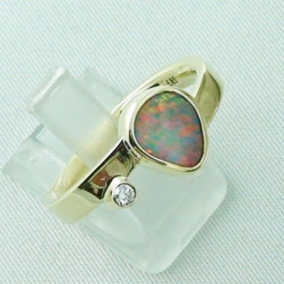7,27 gr opalring, 14k goldring, ladies ring, black crystal opal and diamond, pic6
