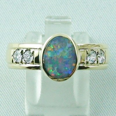 10.13 gr opalring, 14k goldring, ladies ring semi black opal and diamonds, 1
