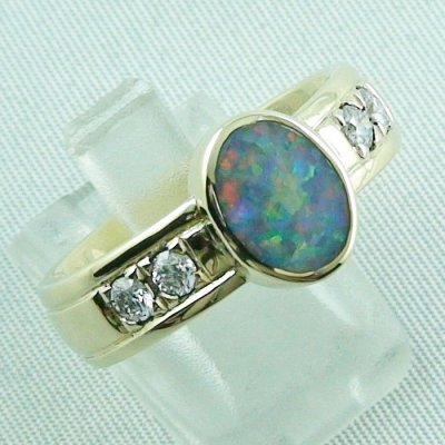 10.13 gr opalring, 14k goldring, ladies ring semi black opal and diamonds, 6