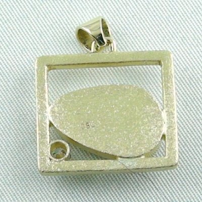 8,61 gr opalpendant, gold pendant 18k with white opal, diamond, pic7