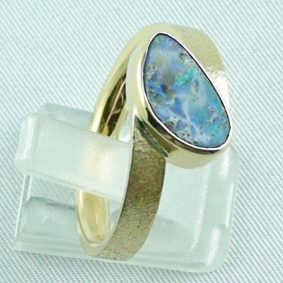 9.70 gr opalring, 14k goldring, ladies ring with boulder opal, pic6