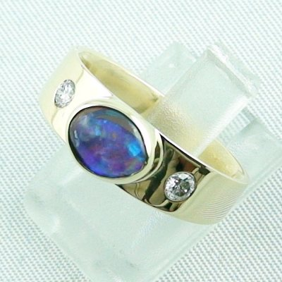 6.32 gr opalring, 14k goldring, ladies ring with boulder opal and diamonds, pic2