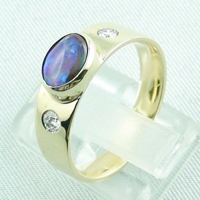 6.32 gr opalring, 14k goldring, ladies ring with boulder opal and diamonds, pic3