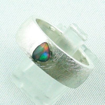 9.99 gr opalring, silverring with black opal 0,36 ct, men's ring 2