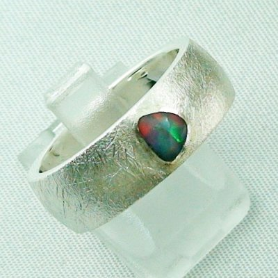 9.99 gr opalring, silverring with black opal 0,36 ct, men's ring 6